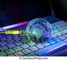 fibra óptica, globo, contra, plano de fondo, tierra, tecnología