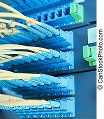 fibra, red, remiendo, interruptor, óptico, cables, panel