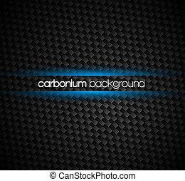 Fibras de carbono con tonos oscuros y un efecto de luz azul alrededor de tu texto.