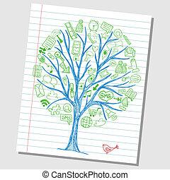 Fideos de las redes sociales, iconos dibujados a mano alrededor del bosque
