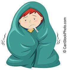 fiebre, debajo, manta, niño, teniendo