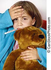 fiebre, niño enfermo