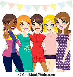 fiesta, amigos, mujeres