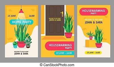 fiesta de inauguración de una casa, tarjetas, fiesta, invitación, conjunto