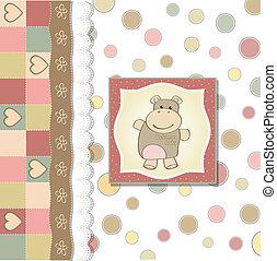 fiesta de nacimiento, infantil, niña, tarjeta