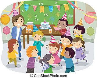 fiesta, escolares, stickman, cumpleaños