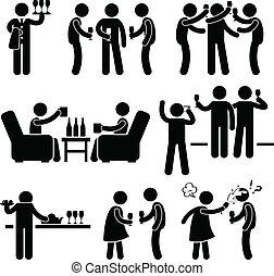 fiesta, gente, cóctel, amigo, hombre