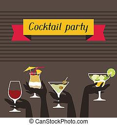 fiesta, invitación, bebidas, alcohol, cocktails.