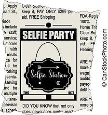 fiesta, periódico, selfie, fragmento, classifieds