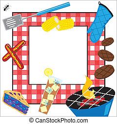 fiesta, picnic, verano, invitación