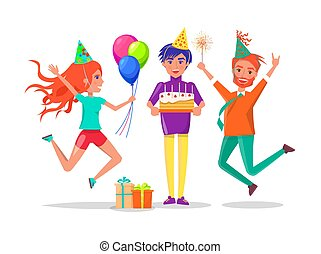 fiesta, sombreros, pastel, tipo, cumpleaños, amigos