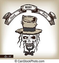 fiesta, stylle., cráneo, heat., horror, mano, invitación, dibujado, enfermo