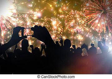 fiesta, year?s, nuevo, aplausos, celebrar, multitud, fireworks.