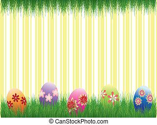 Fiestas de Pascua coloridas huevos de pascua amarillo fondo rayado