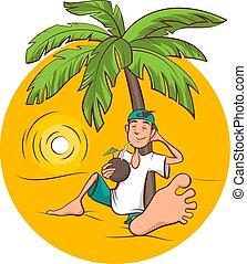 Fiestas en la playa. El joven se sienta bajo la palmera