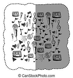 Figura instrumentos de música notas icono de fondo