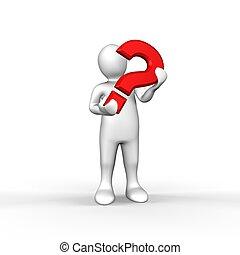 figura, tenencia, pregunta, rojo blanco, ilustrado, marca