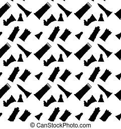 Figuras de ajedrez de un patrón blanco y negro