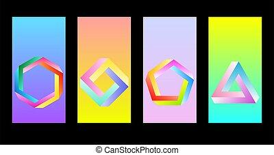 figuras., retrowave, creativo, synthwave, o, figuras, penrose, resumen, imposible, undecidable, papel pintado, smartphone., objetos