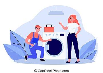 fijación, lavado, factótum, máquina