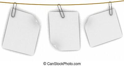 fila, blanco, papel, plano de fondo, ahorcadura