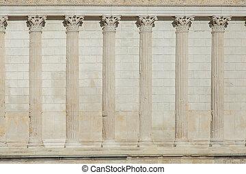 fila, griego, pared, pilares