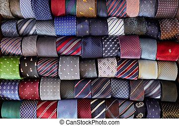 fila, patrones, corbatas, multicolor, acostado, muchos