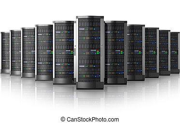 fila, red, centro, servidores, datos