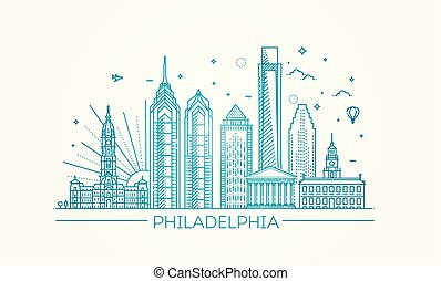 Filadelfia. Pennsylvania USA. Skyline con panorama