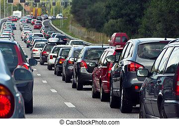 filas, embotellamiento, coches