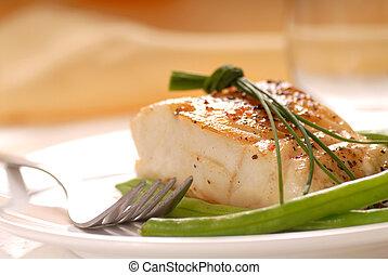 Filete de bacalao con frijoles verdes