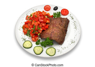 Filete de ternera asado con ensalada vegetal