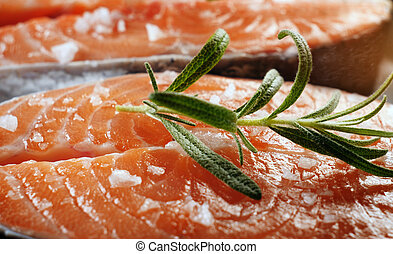 filete, pez, cierre, fresco, crudo, salmón, arriba