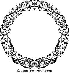 filigrana, cresta, marco, motivo, patrón, hoja, floral
