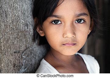 filipina, retrato, filipinas, -, niña