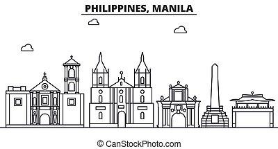 Filipinas, arquitectura de la línea de arquitectura de Manila ilustración del horizonte. Vector lineal Cityscape con puntos de referencia famosos, vistas de la ciudad, iconos de diseño. Landscape wtih derrames editables