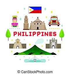Filipinas etiqueta de atracción de viaje