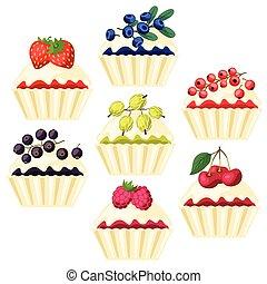 filling., conjunto, vario, cupcakes