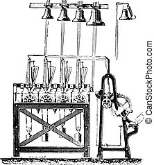 final, saint-germain, torre, sistema, engraving., carillón, l'auxerrois, vendimia