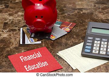 financiero, educación, ahorros, concepto, dinero
