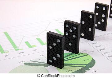 financiero, empresa / negocio, dominó, gráfico, encima, arriesgado