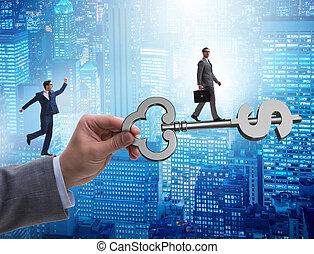 financiero, llave, éxito, prosperidad, concepto