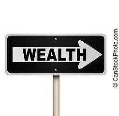 financiero, riqueza, consejo, señal, calle, elegir, camino