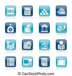 finanzas, banco, iconos