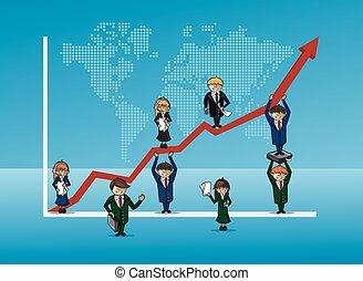 Finanzas Busines equipo de crecimiento concepto gráfico