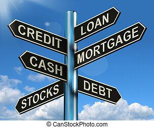 finanzas, hipoteca, poste indicador, préstamo, préstamo, credito, deuda, actuación