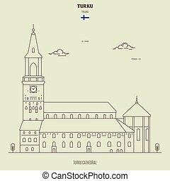 finland., turku, señal, catedral, icono