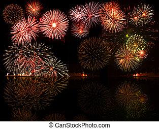 fireworks., conjunto, e.g.2012, colorido, texto, objeto, centro, su, bueno, números, año, o