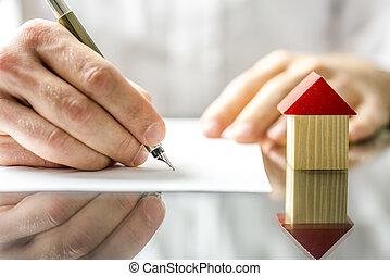 firma, casa, cuándo, contrato, nuevo, compra, hombre