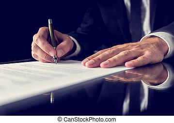 Firmando documentos legales